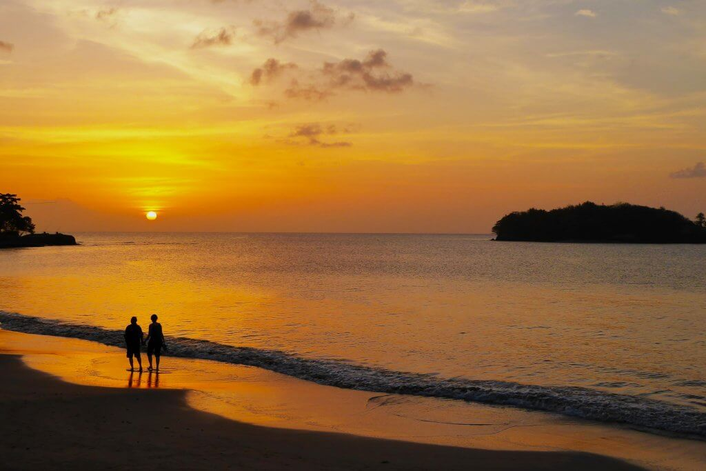 things to do in st lucia: walk along the beach at sunset